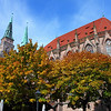 St. Sebaldus Church with October colors, Nuremberg, Germany